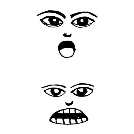 anger kid: doodle emotion face icon hand draw illustration design