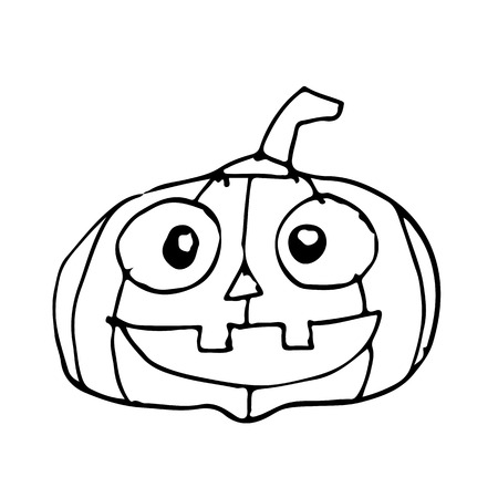 Doodle halloween pumpkin icon hand draw illustration design
