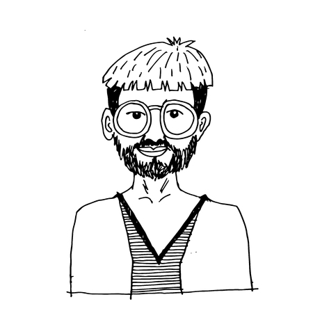 doodle hipster man icon hand draw illustration design