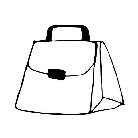 Doodle bag icon hand draw illustration Illustration