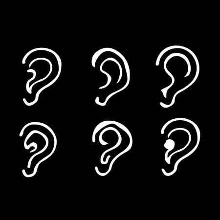 Dibujar a mano el diseño de iconos ilustración del doodle de la oreja