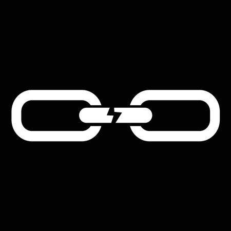 destroying: Broken chain icon illustration design