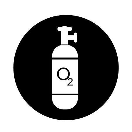compressed gas cylinder: Oxygen Cylinder icon illustration design