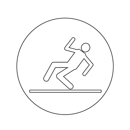 skid: slippery floor sign icon illustration design Illustration