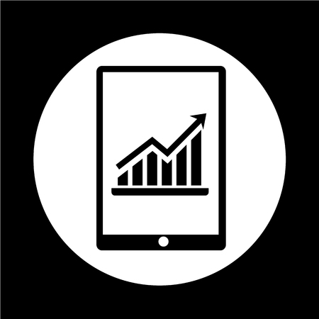 pc: Graph In Tablet PC Icon Illustration