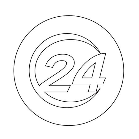 twenty four hour: 24 hours  icon Illustration