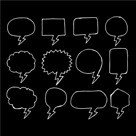 says: Speech bubble hand drawing icon