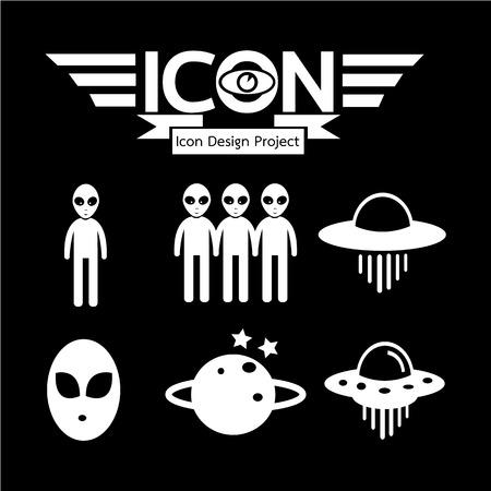 Alien ufo icon Illustration
