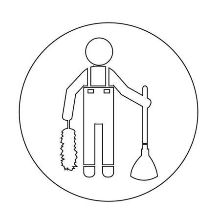 roller brush: Cleaner Man icon Illustration