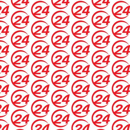 24: Pattern background 24 hours logo icon