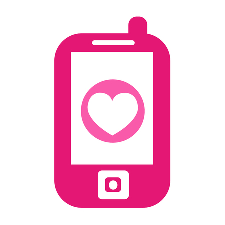 Heart phone vector icon