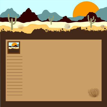 Desert, mountains, cactuses and tumbleweed.  Illustration