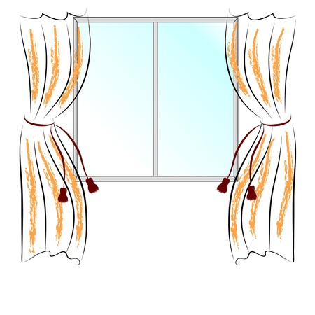 simple drawing window and two curtains. Vector