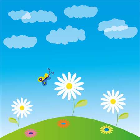 illustration, glade, clouds, flowers and butterfly