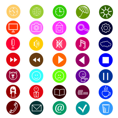 set of icons for a site, multi-colored, bright Vector
