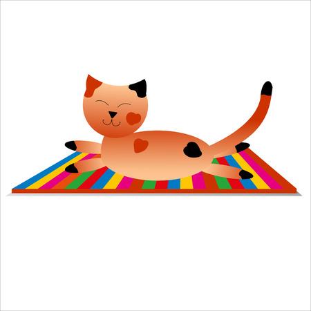 lies: the happy cat has a rest, lies on a striped carpet.