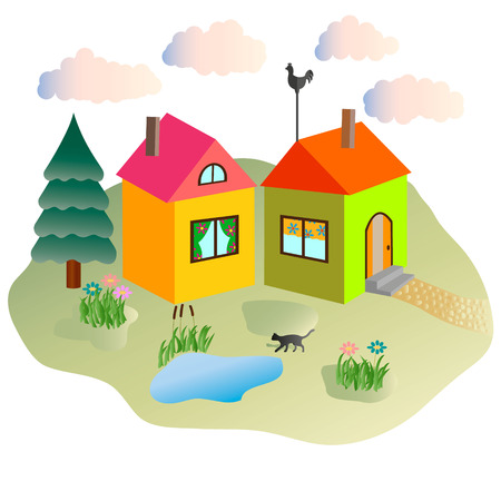rural lodges, summer, clouds and the cat walking in the yard.  Vector