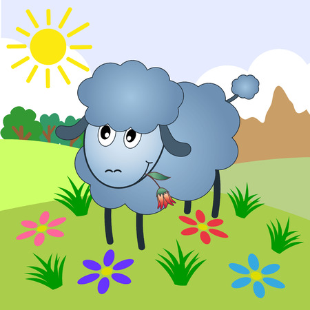 Sheep Cartoon Character Eating A Flower On A Meadow Vector