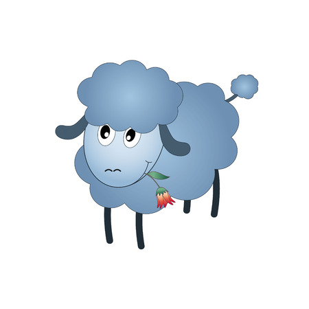 Black Sheep Cartoon Character Eating A Flower.  Vector
