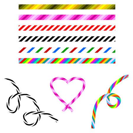 paleta de caramelo: conjunto de pinceles, colores, rayas