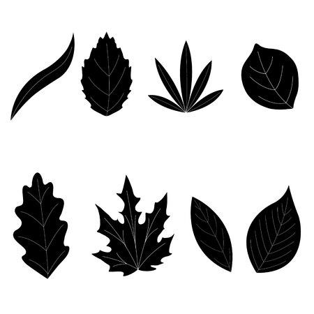 Collezione Leaf - vettore silhouette
