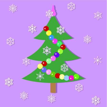 The festive fir-tree decorated with a garland. Vector