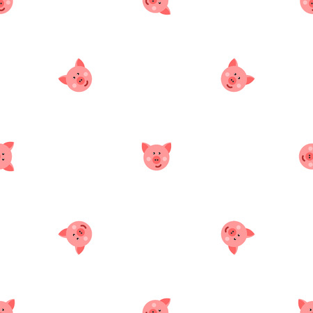 hayfield: pigs vector seamless pattern.