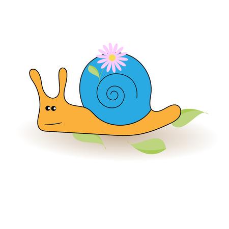 four eyes: Cartoon snail, vector illustration. Flower and leaves. EPS 10
