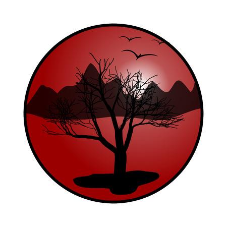 national park: Dry tree in the desert. Vector illustration.  Illustration