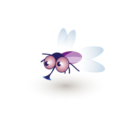 hum: Comic Funny Housefly. Illustration of a cartoon funny fly buzzing in the air.