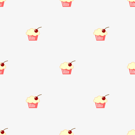 Seamless pattern sketch cupcake. vector illustration.  Vector
