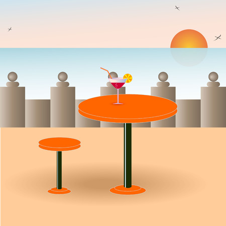 port wine: A vector image of a beach cafe. EPS 10
