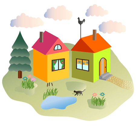 lodges: rural lodges and the cat walking in the yard Stock Photo