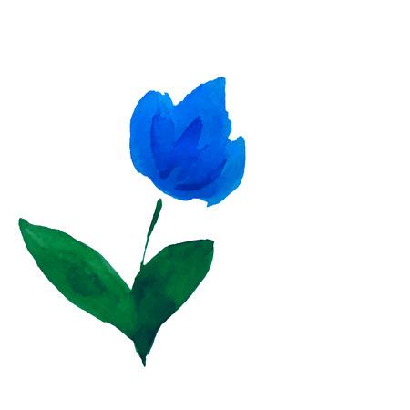 transparently: Blue flower. Watercolor floral illustration. Floral decorative element. Vector floral background.