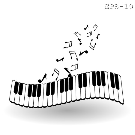 Vintage background with piano - vector illustration.