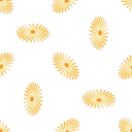 yellow vector: Seamless background with daisy flowers on yellow. Vector illustration. Illustration
