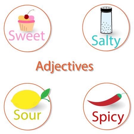 English adjectives. Basic tastes EPS 10