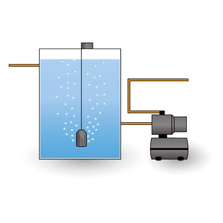 amoníaco: Esquema de aireación del agua. Ilustración vectorial Vectores