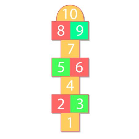 hopscotch: colorful illustration  with hopscotch game on grey background. eps 10 Illustration