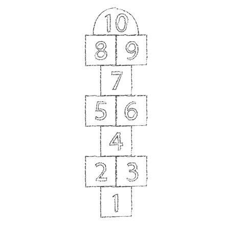 hopscotch: White hopscotch drawn with chalk. eps 10