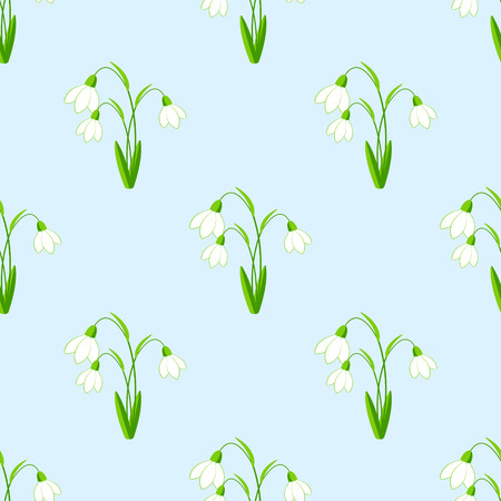 snowdrops: Seamless background with snowdrops flowers the vector illustration. EPS 10