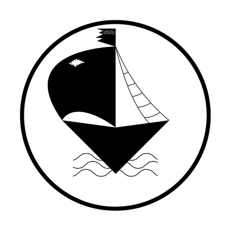 barque: Ship or boat sign icon. Shipping delivery symbol. Circle buttons with long shadow. eps 10