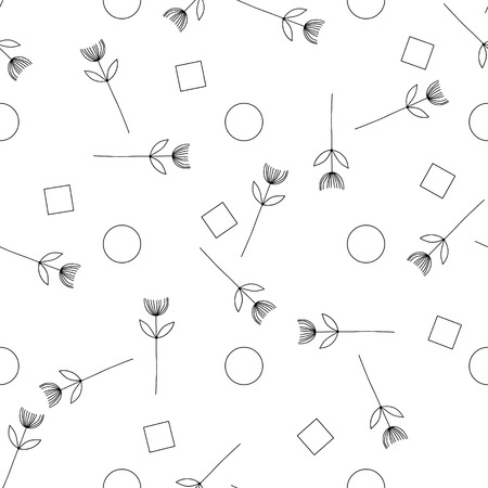 blackandwhite: Vector illustration of seamless black-and-white pattern with creative flowers. eps 10