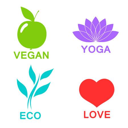 bionomics: Vector green ecology alphabet - icons and symbols. eps 10