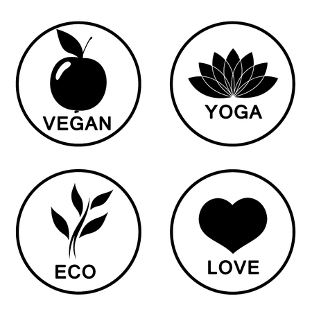 green apples: Vector green ecology alphabet - icons and symbols.  Illustration