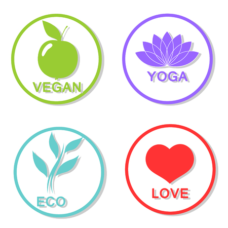 bionomics: Set of vector icons on the theme of the flat of a healthy lifestyle. eps 10