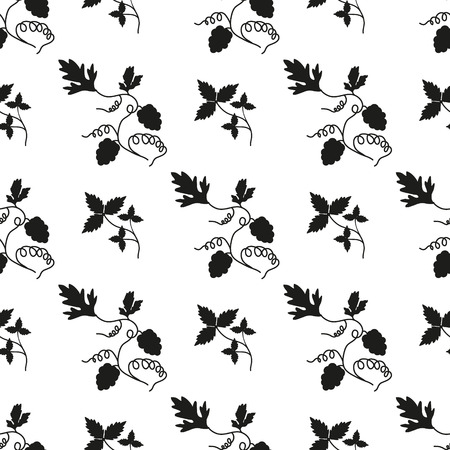 Seamless grape background black and white. Vector Vector