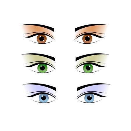 female eyes: Set female eyes of different colors. Isolated on white.  Illustration