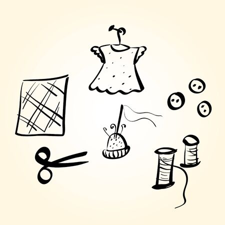sewing supplies: Vector illustration, sewing supplies. Hand drawn .