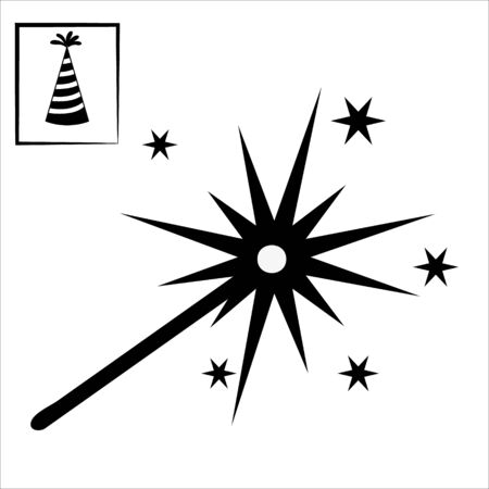 Sparkler. Single flat icon on white background. Vector illustration. Illustration